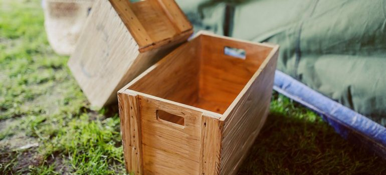 Wooden crates.